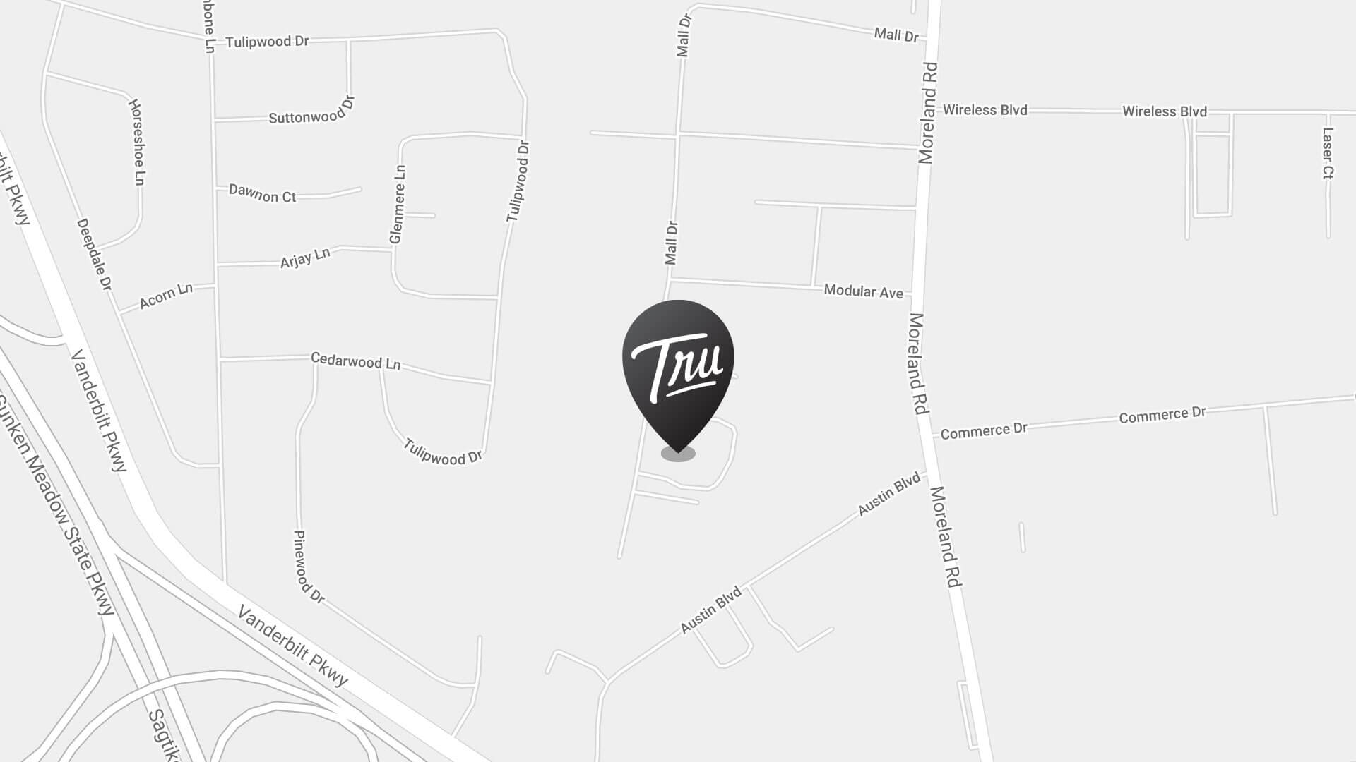 Map with a pin on the Trufood Commack facility